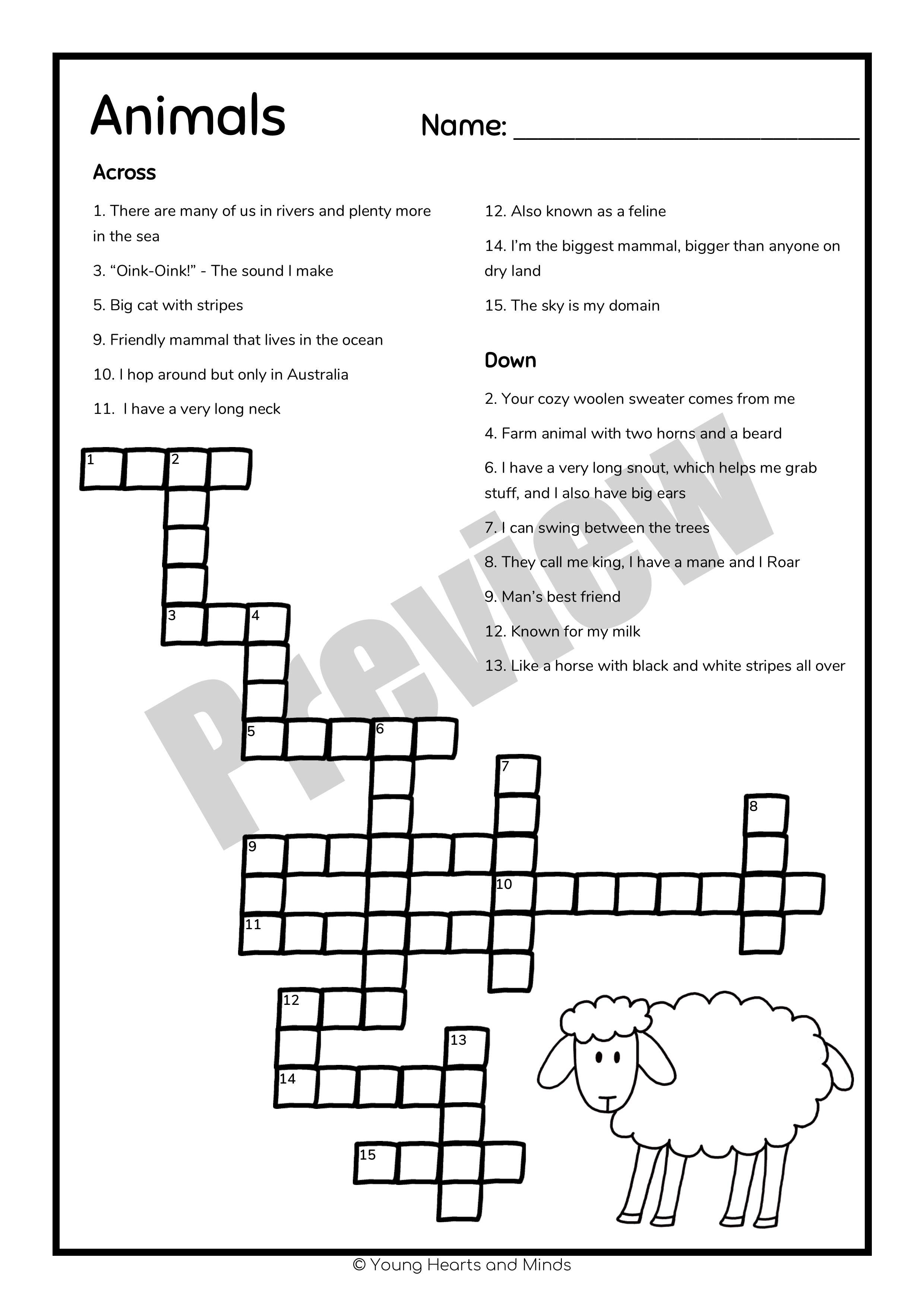 Crossword Puzzle Collection 1st 2nd 3rd Grades
