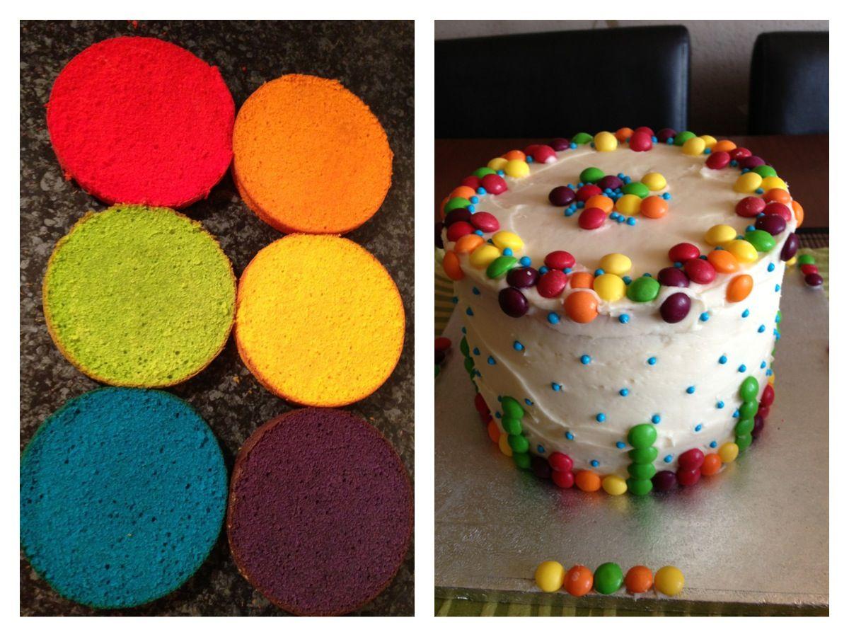 Rainbow skittles cake ) Cake, Food