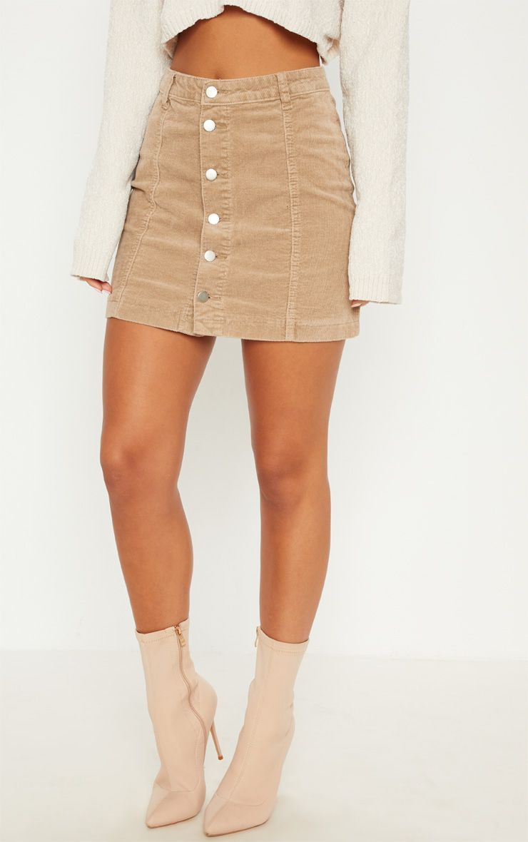 83842b0627 Stone Cord Cammie Button Through Skirt Cord, Mini Skirts, Cable, Cords, Mini