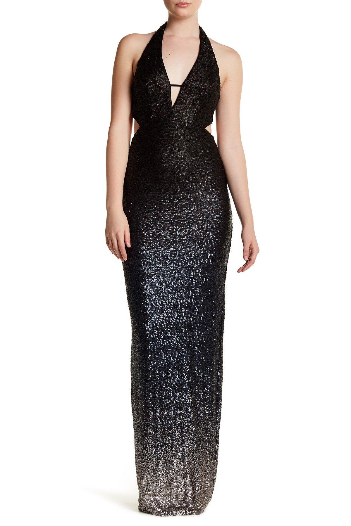 ABS by Allen Schwartz Deep V-Neck Halter Sequin Dress   Women ...