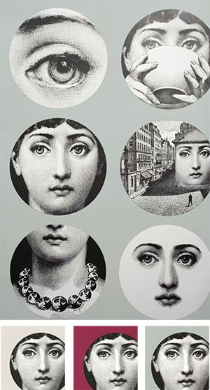 Fornasetti Wallpaper With The Iconic Faces At Rose And Radish