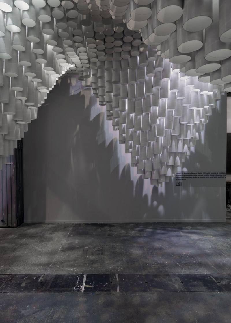 Light pattern of beautiful ceiling installation made of paper tube light pattern of beautiful ceiling installation made of paper tube mozeypictures Choice Image