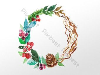 Photo of Hand drawn watercolor plant flower vine wreath illustration element | Graphic Elements PSD Free Download – Pikbest