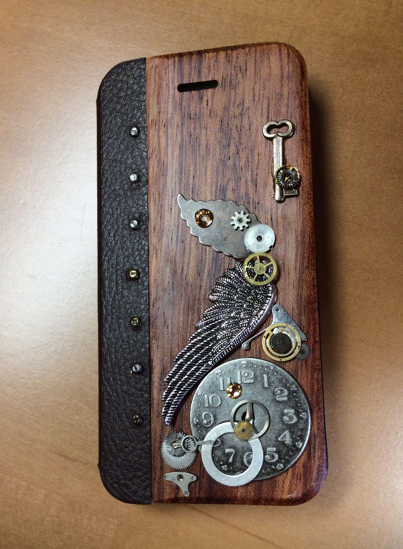 "Steampunk iPhone case ""time flies"""