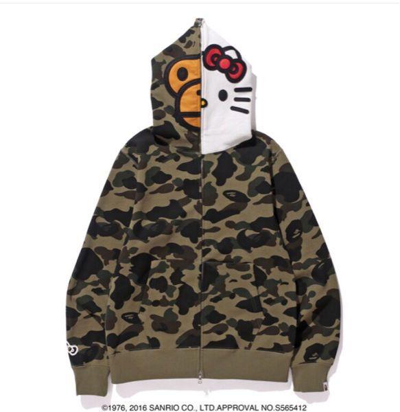 78bd8932a3a9 A Bathing Ape BAPE Baby Milo x Sanrio HELLO KITTY Camouflage Hoodie Parka  Jacket