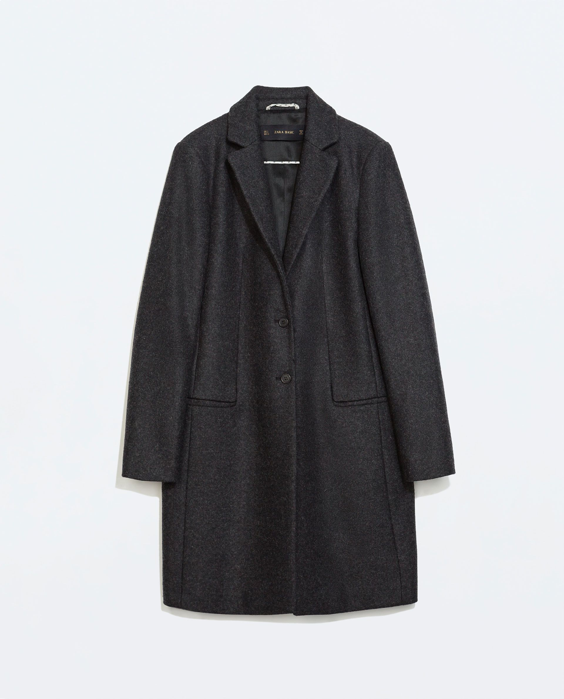 ZARA   Wool coat with lapels in dark grey   80% wool, 15 ...