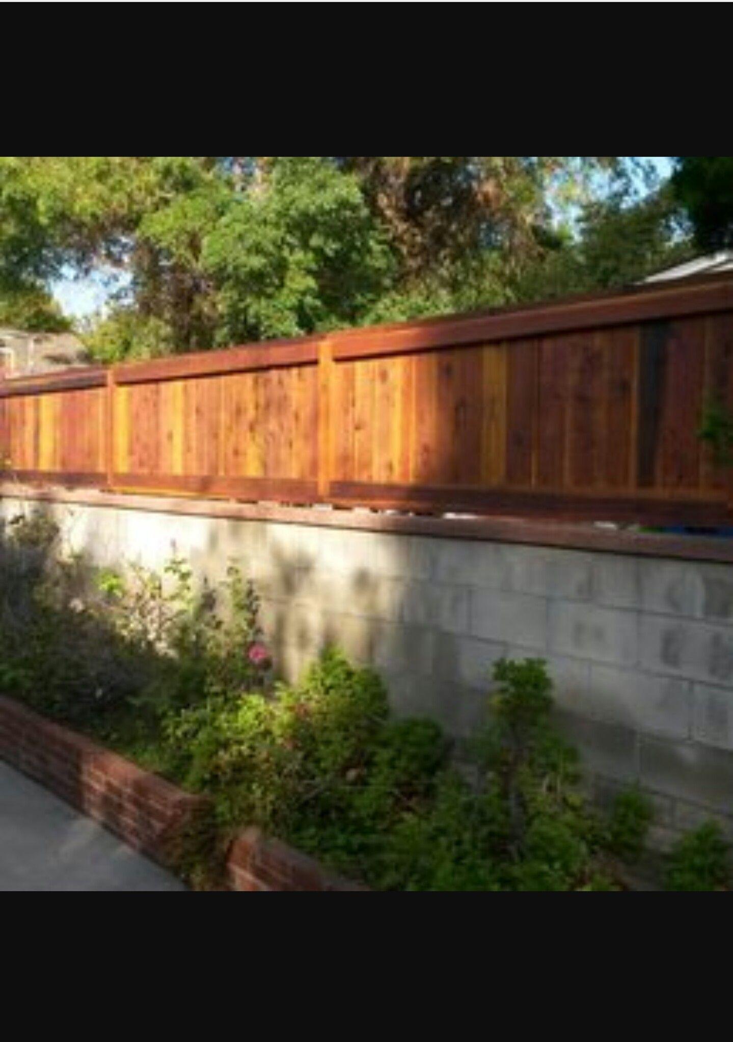 stunning wooden fence on brick wall 11
