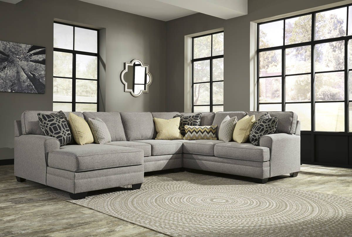 Ashley Furniture Cresson Pewter 4pc Sectional with LAF Corner Chaise ...