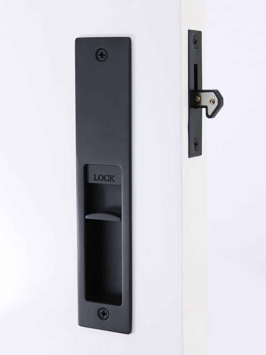 Milos Cavity Slider Lock Matte Black Finish For Pocket Doors Pocket Doors Black Door Handles Door Handles