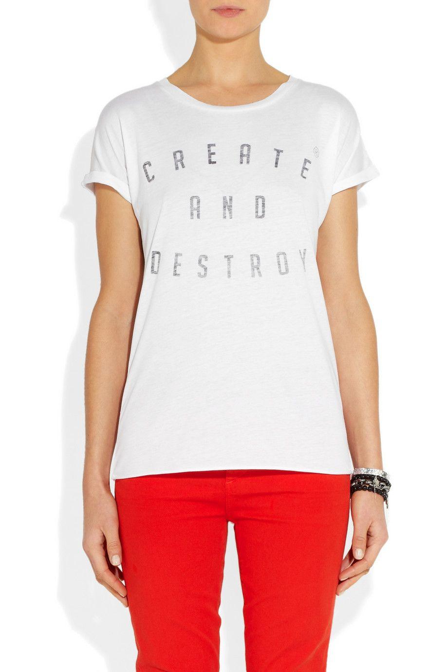 Zoe Karssen|Create and Destroy cotton and modal-blend T-shirt|NET-A-PORTER.COM