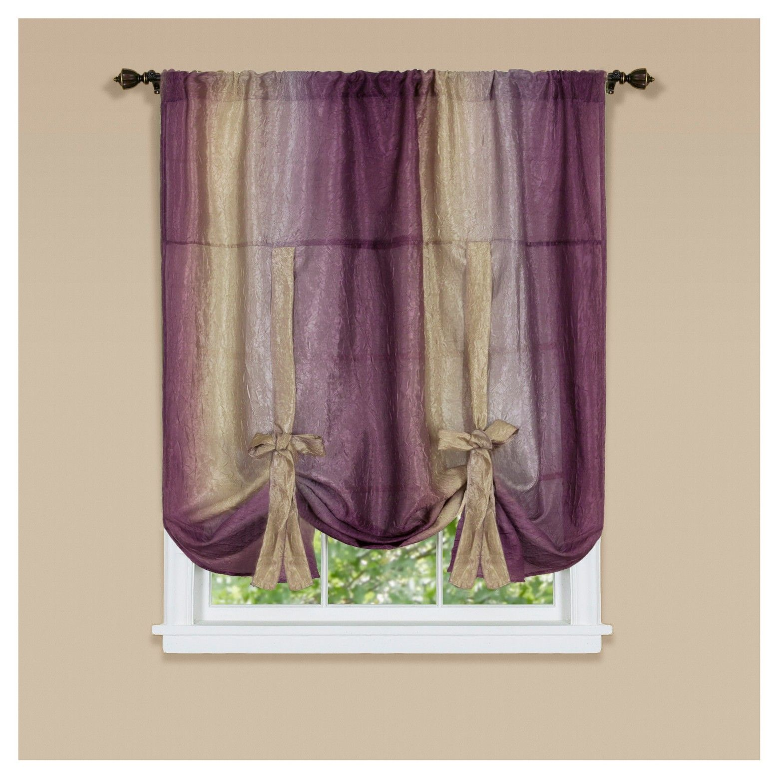Ombre Window Curtain Tie Up Shade By Achim Aubergine 50 63 14 Tie Up Shades Tie Up Curtains Window Shades