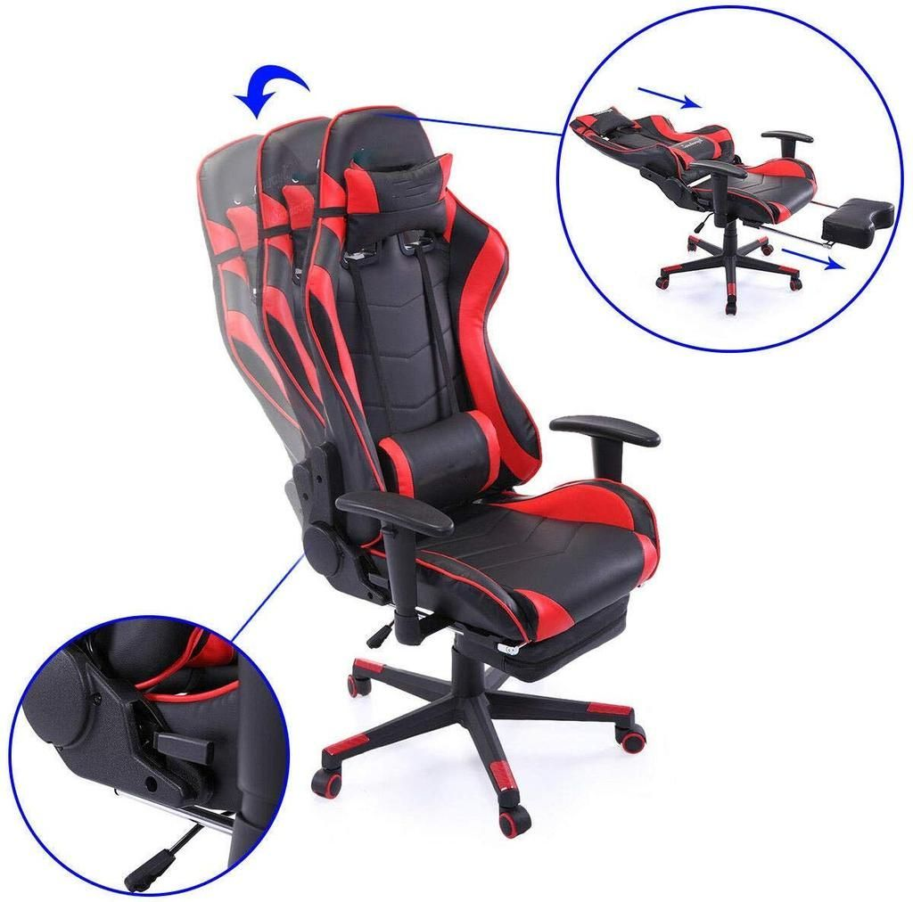 black and green gaming chair with footrest