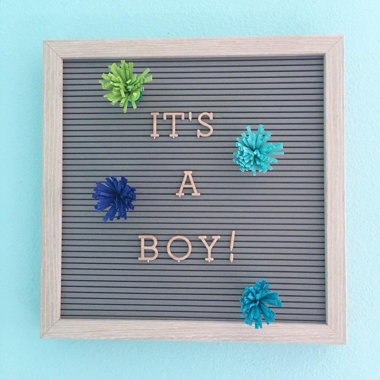 Blue Bursts Letter Board Accessories, Baby Boy Letter