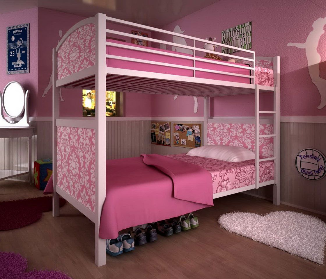 Bedroom wall painting ideas in pink color - Lovely Bunk Bed Interior Design With Pink Wall Paint Color And Wooden Floor Also Unique Love
