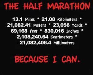The Half Marathon 131 Miles 2108 Kilometers 2108241 Meters 23056 Yards 69168 Feet 830016 Inches 210824064 Centimeters