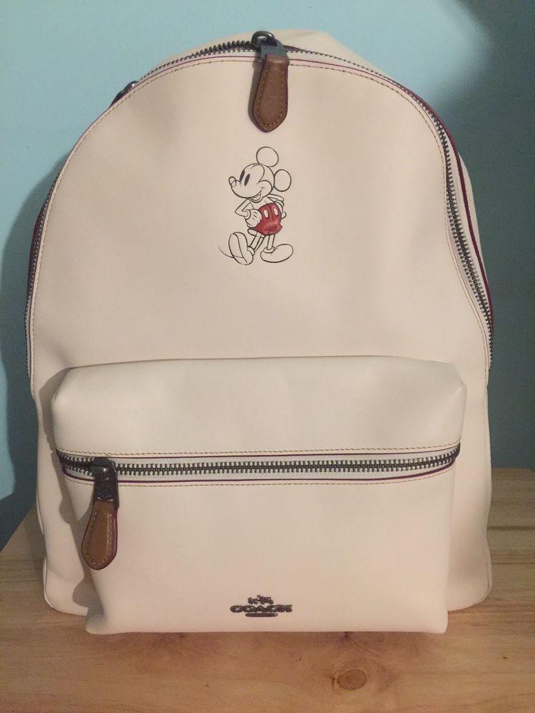 b2f01f48a82 Disney x Coach Mickey Mouse Charlie Backpack, Chalk Leather F59378, BRAND  NEW!  purses  fashion
