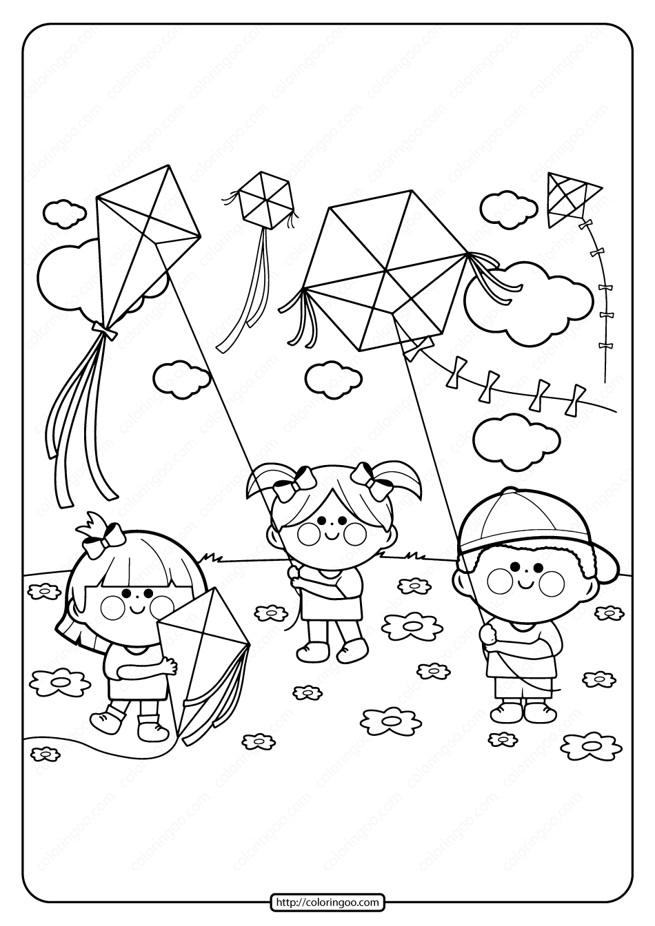 Printable Kids Flying Kites Pdf Coloring Page Spring Coloring Pages Coloring Pages Coloring Books