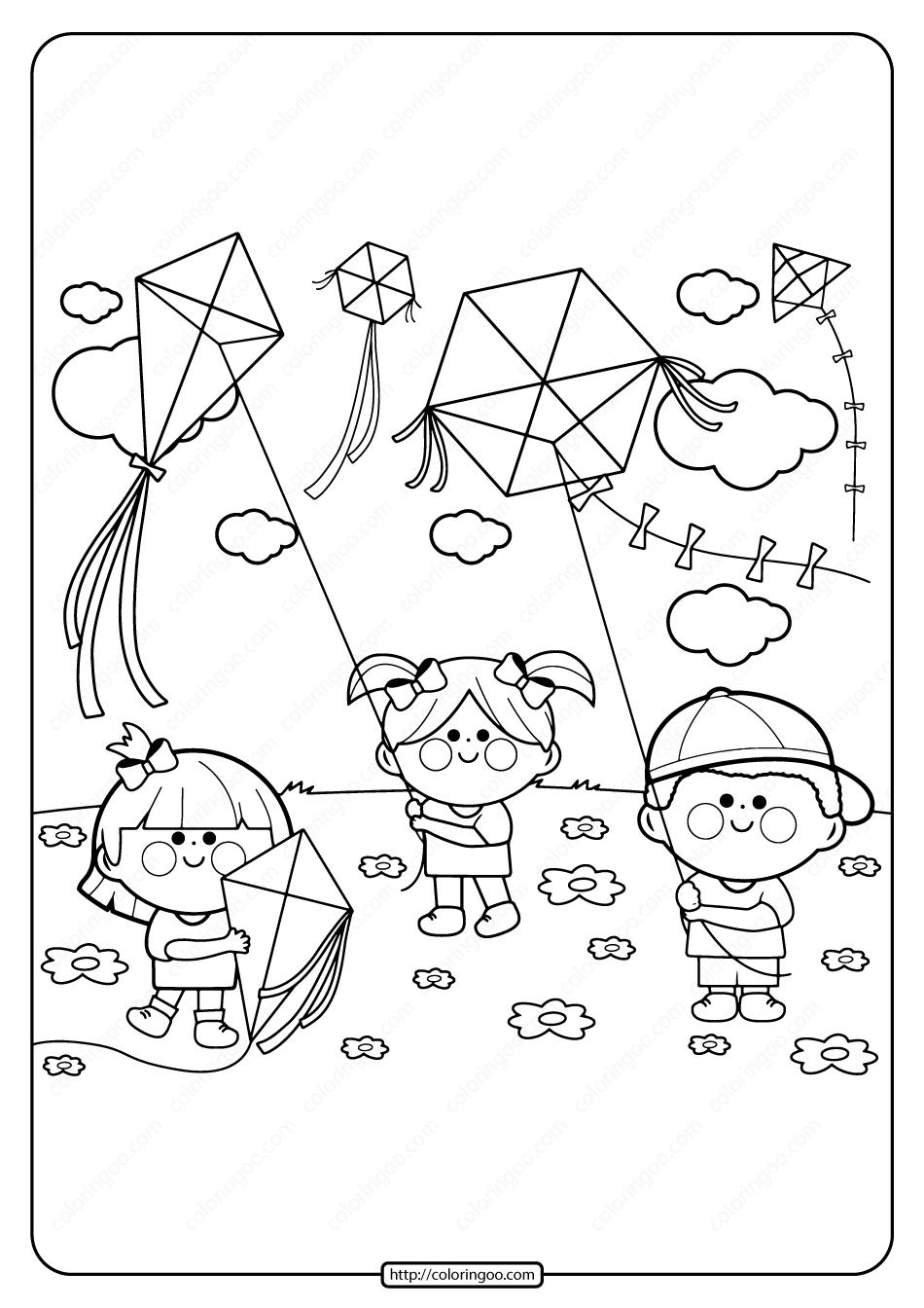 Printable Kids Flying Kites Pdf Coloring Page In 2020 Spring Coloring Pages Coloring Pages Coloring Books
