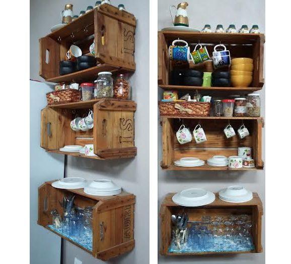 Decoração com caixotes de madeira faça você mesmo  Madei -> Armario Para Banheiro Faca Voce Mesmo