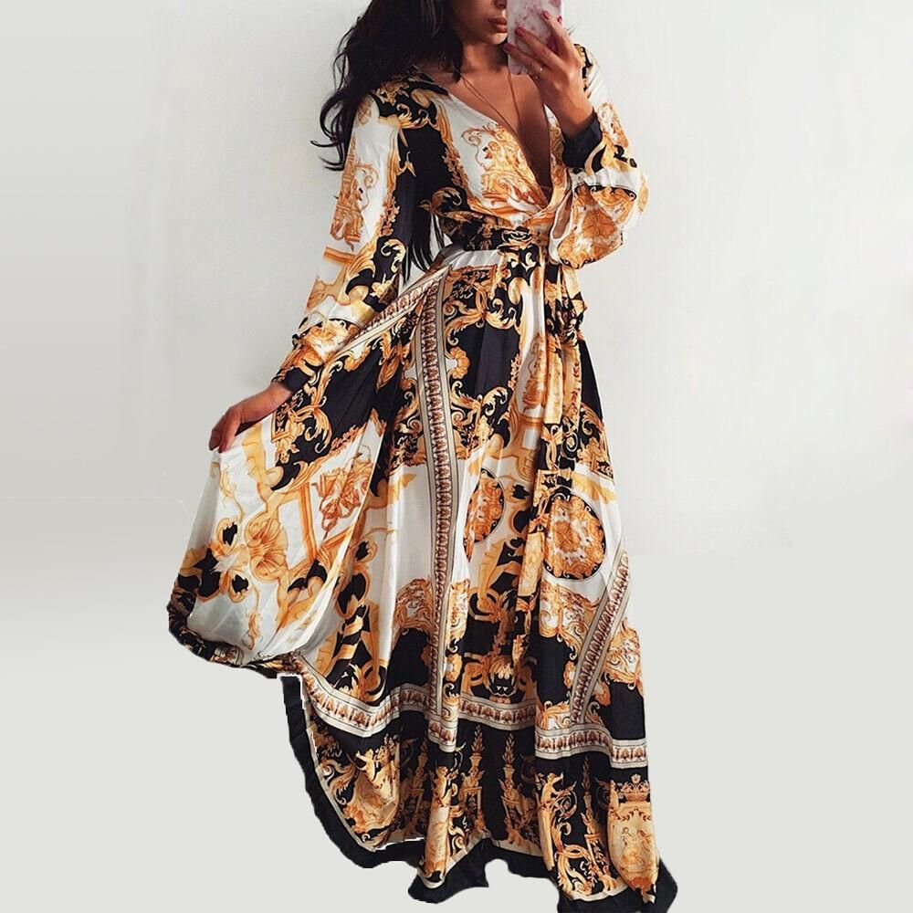 2019 Women Boho Vintage Long Sleeve  Floral Maxi Dress Fashion Holiday Beach V Neck Long Dress 1