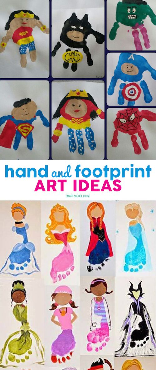 Hand and Footprint Art Ideas - lots of ideas to save! Kids Crafts
