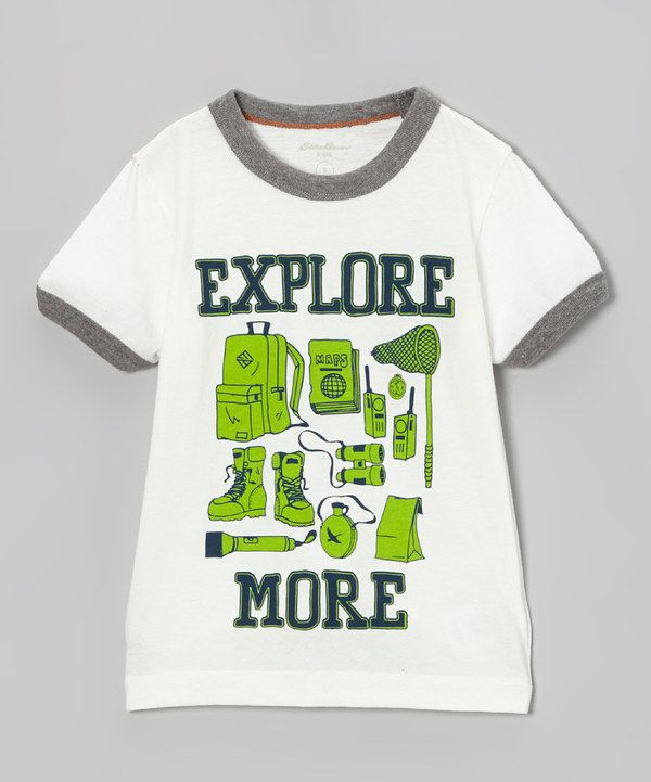 Take a look at this Off-White 'Explore More' Ringer Tee  - Toddler & Boys on zulily today!