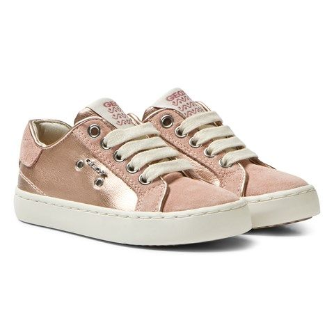 Geox Rose Gold Metallic Kiwi Laced Trainers