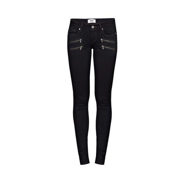Paige Kensington Edgemont Jeans (€345) ❤ liked on Polyvore featuring jeans, pants, bottoms, black, pantalones, paige denim jeans, black jeans, 5 pocket jeans, black skinny jeans and black zipper skinny jeans