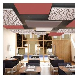 Restaurant D Entreprise Dalle Ilot Faux Plafond Acoustique Personnalisee Plafond Acoustique Faux Plafond Acoustique Plafond