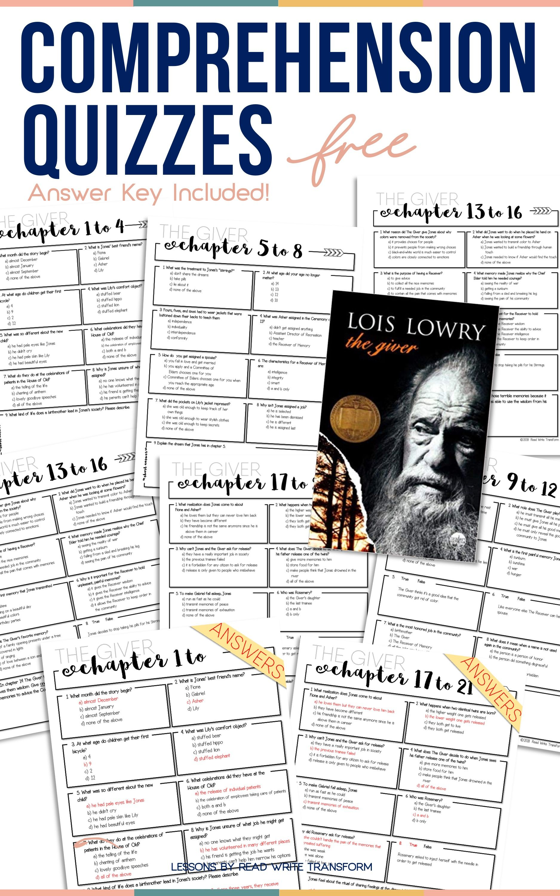 Free The Giver Chapter Quizzes Answer Key Provided