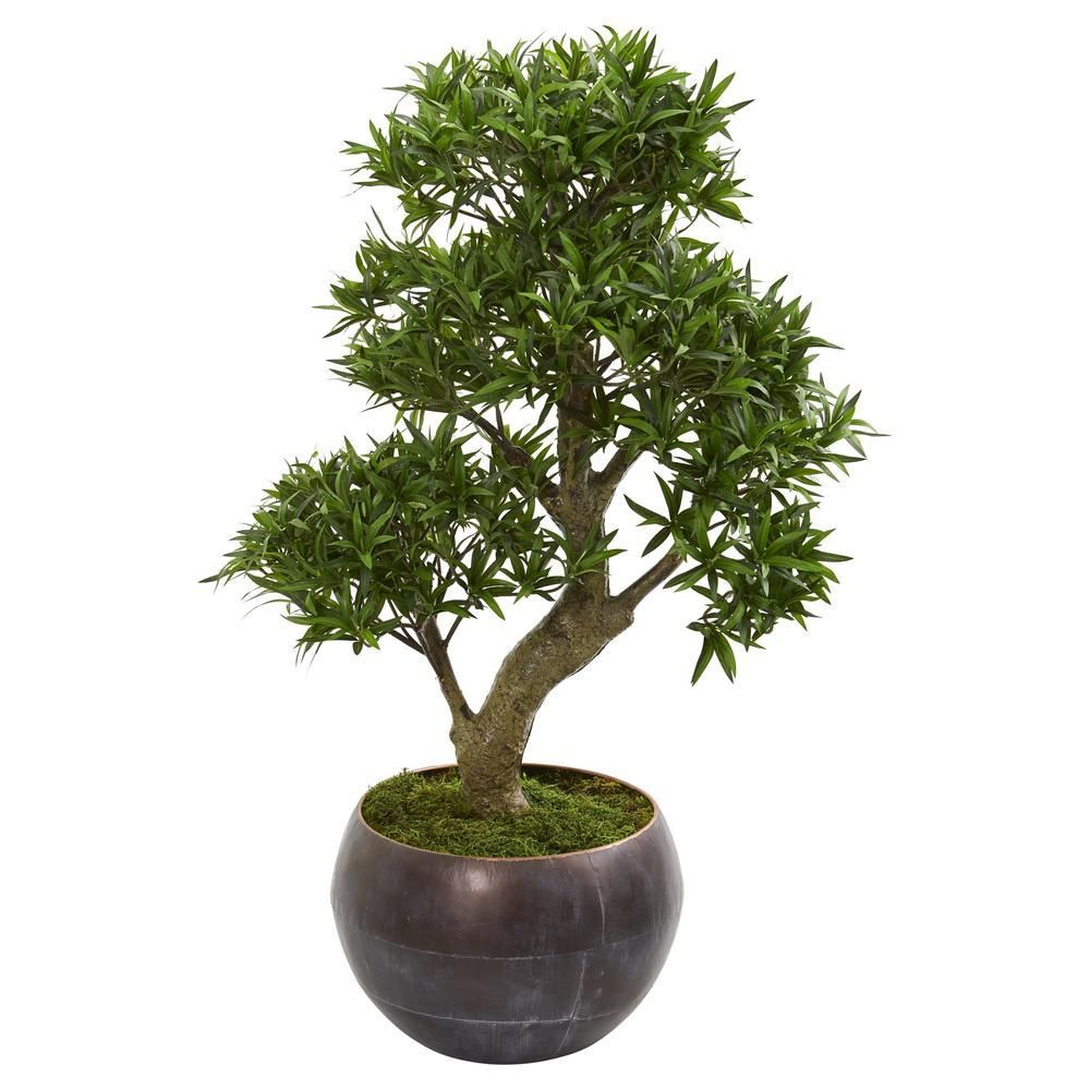 "37"" Podocarpus Artificial Bonsai Tree in Metal Bowl#artificial #bonsai #bowl #metal #podocarpus #tree"