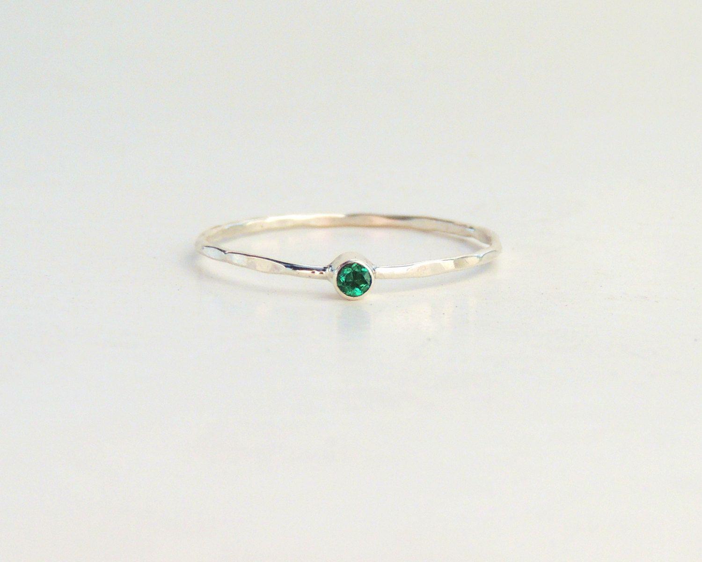 Emerald Ring Tiny Emerald Ring Natural Emerald Ring Dainty