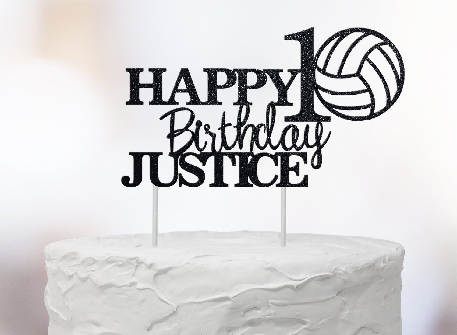 Personalized Volleyball Theme Happy 10th 20 30 40 50 60 Etsy Birthday Name Happy 10th Birthday Birthday Cake Toppers