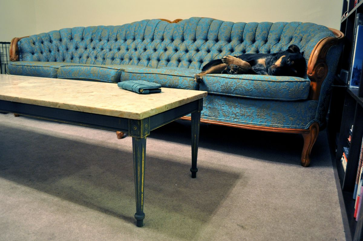 Tufted blue french provincial sofa reupholster pinterest tufted blue french provincial sofa geotapseo Gallery