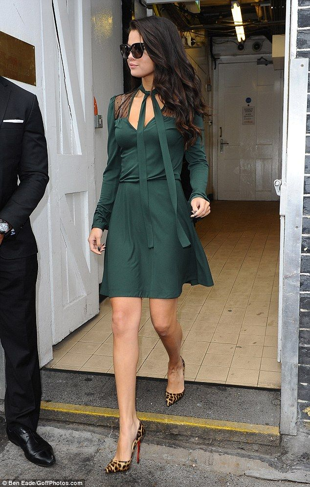 0a8335cc0e02 Work it! The 23-year-old was seen leaving the venue in an emerald number  which featured sheer inserts