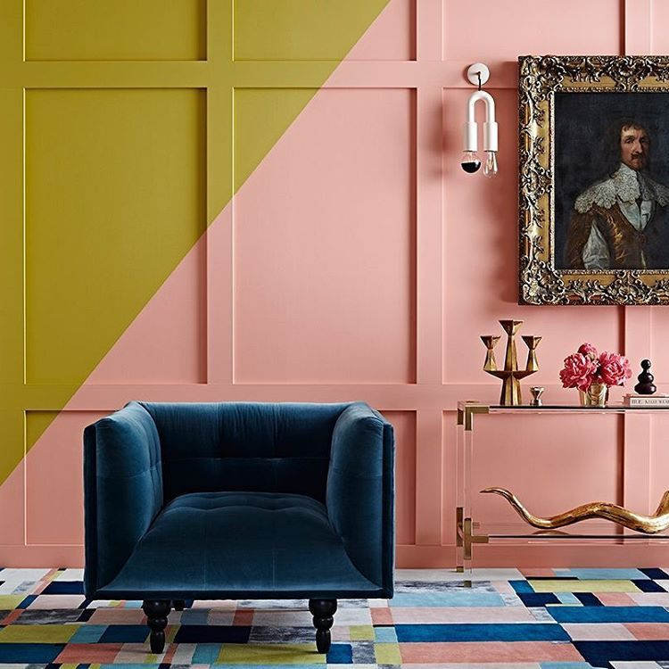 deep decadent blue with a splash of brights in mustard & dusty rose ...