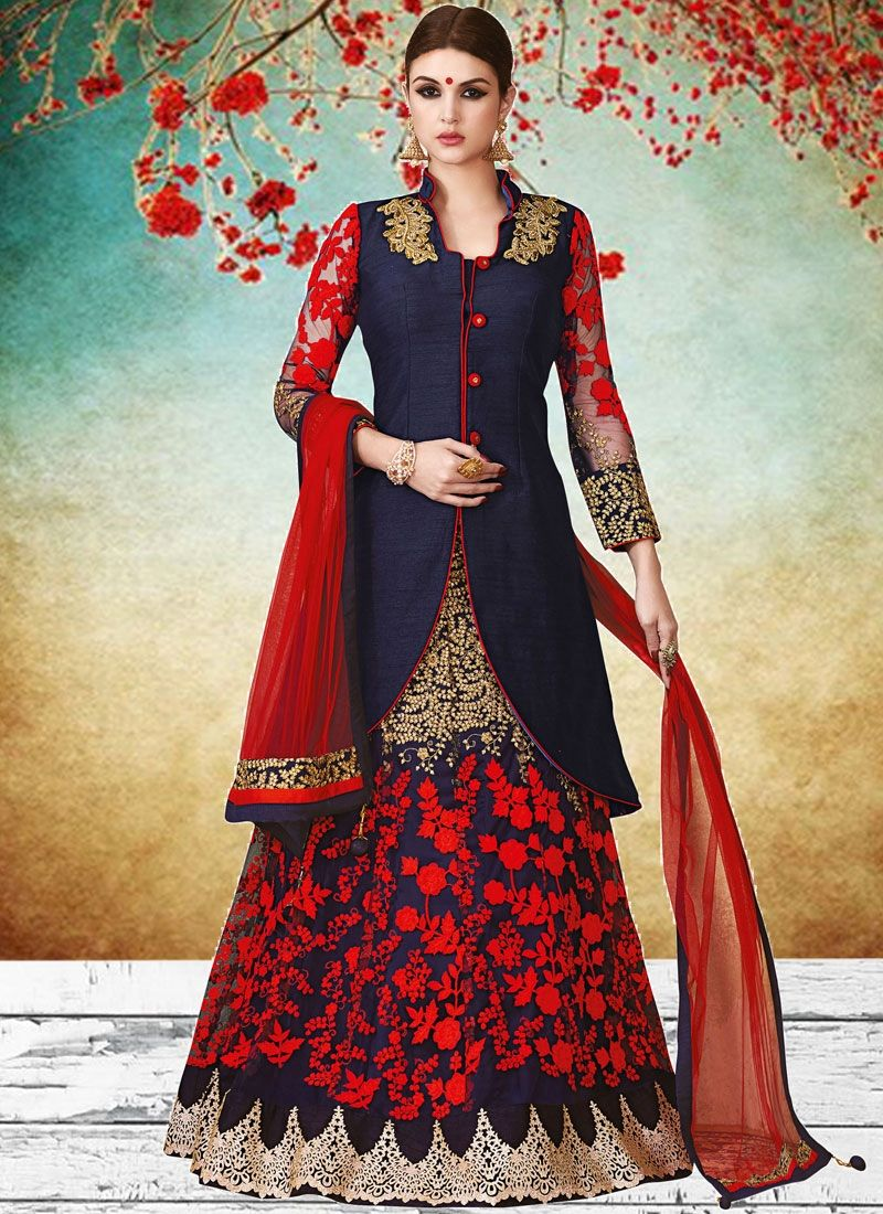 Ideal navy blue and red art silk long choli lehenga dresses for
