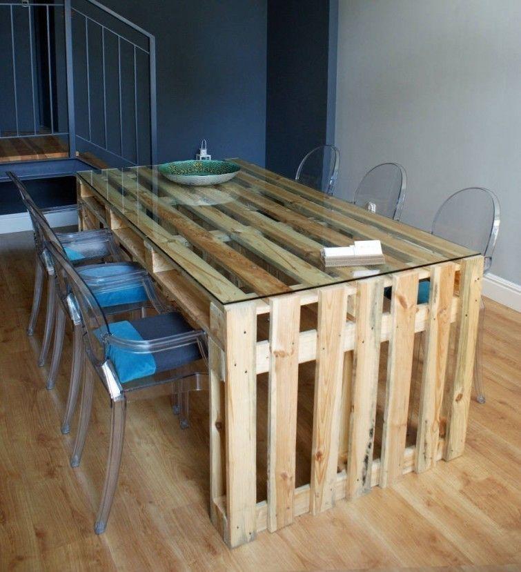 C mo hacer una mesa para el comedor con pallets de manera for Como hacer una alberca con tarimas