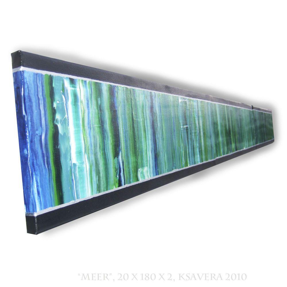 Abstraktes grünes Bild Originales langes Gemälde Neu Malerei Unikat