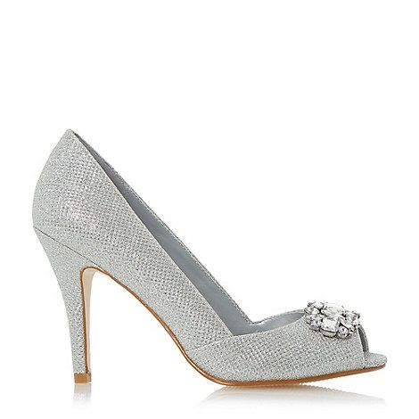 Roland Cartier Silver Darline Jewel Peep Toe High Heel Court