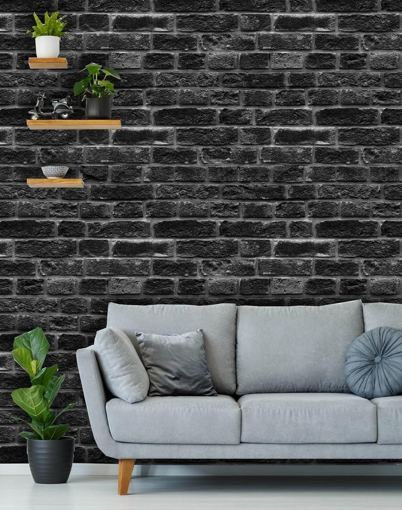 Removable Peel N Stick Wallpaper Self Adhesive Wall Etsy In 2020 Black Brick Wallpaper Painted Brick Walls Brick Interior Wall
