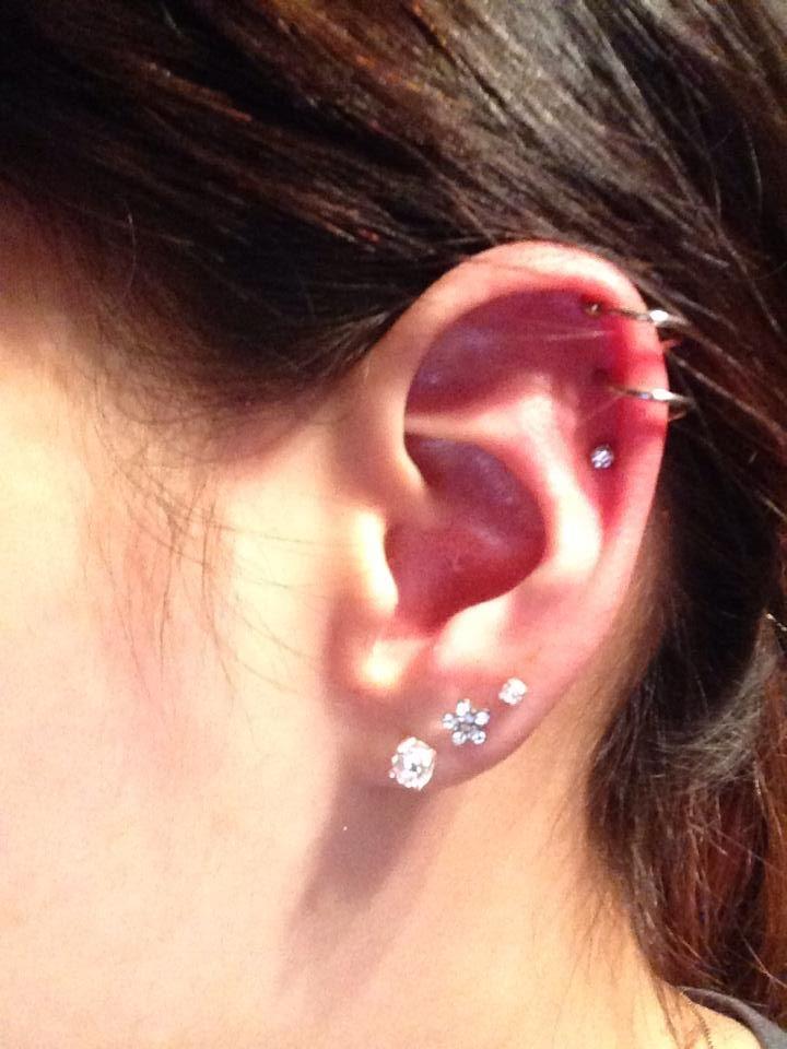 Double Helix Spiral Earring Piercing Piercings Cartilage Jewelry Barbell Cute