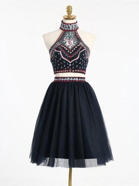 ae0a6253a06 2017 Homecoming Dress Sexy Two Pieces Embroidery Short Prom Dress Party  Dress VC277