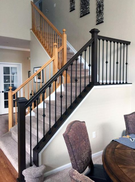 Antique Walnut Gel Stained Stairs Interior Stair Railing