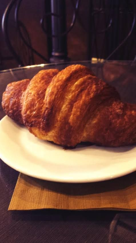 Pumpkin croissant with pumpkin cream cheese filling