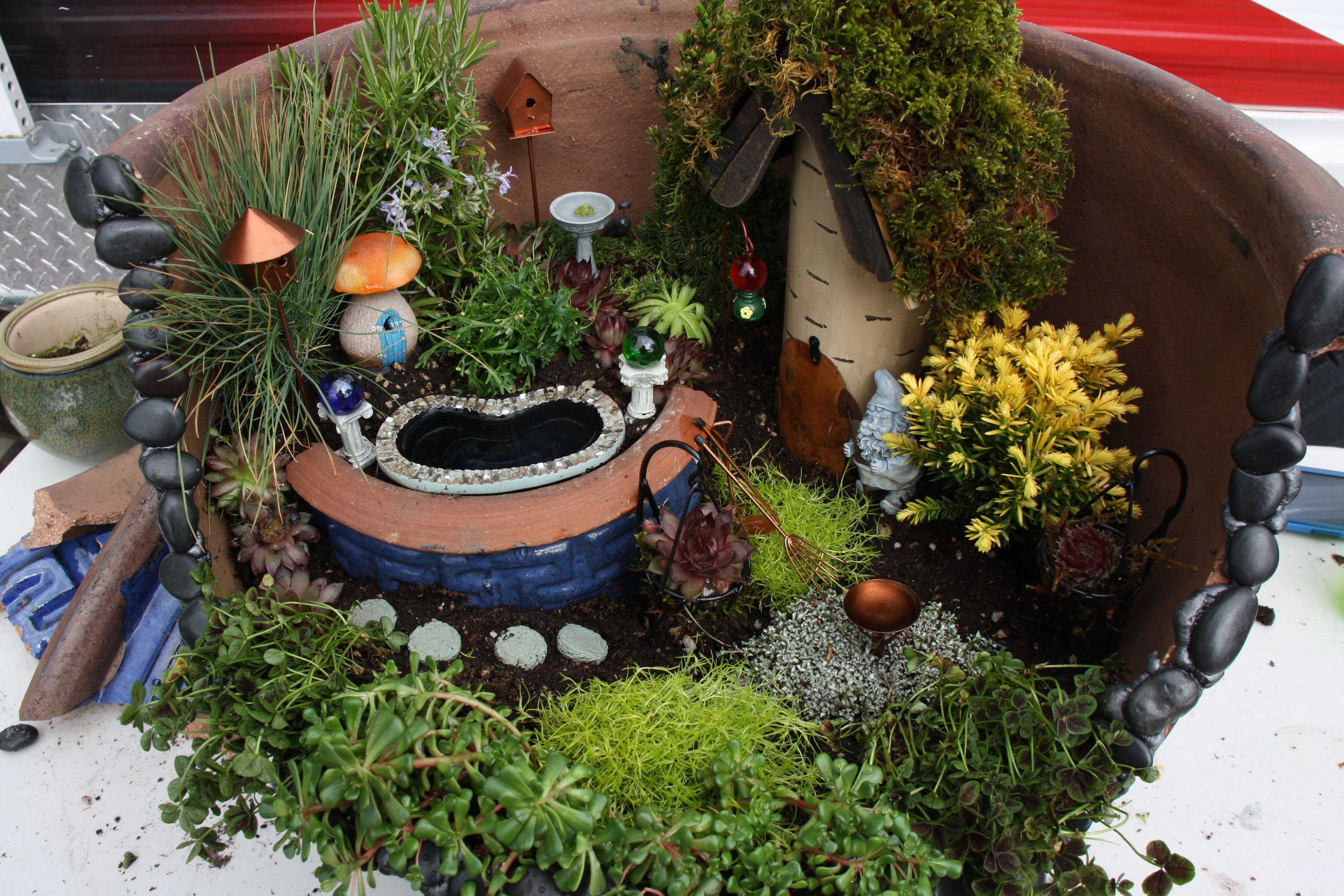 Gnome In Garden: Gnome/fairy Garden In A Pot...Birdhouse From Joanns