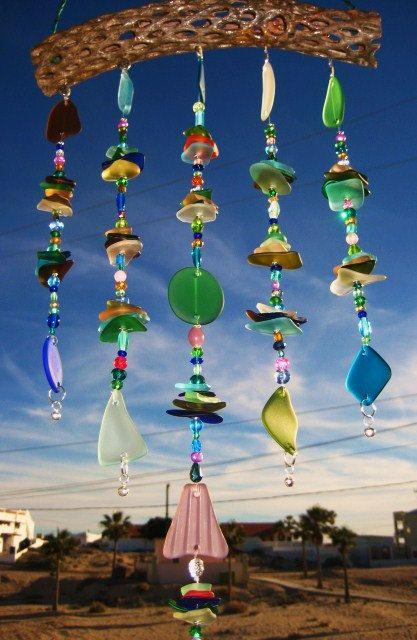 Stacked Beach Glass Windchime on Cholla Wood. $69.00, via Etsy.