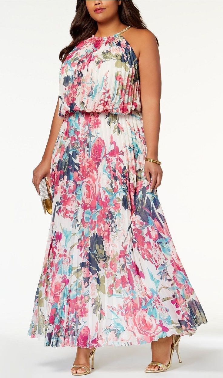 MSK Plus Size Pleated Blouson Halter Gown   Moda tallas grandes y ...