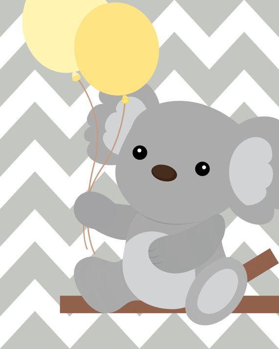 Yellow And Gray Nursery Nursery Koala Art Koala Ot Chicwallart