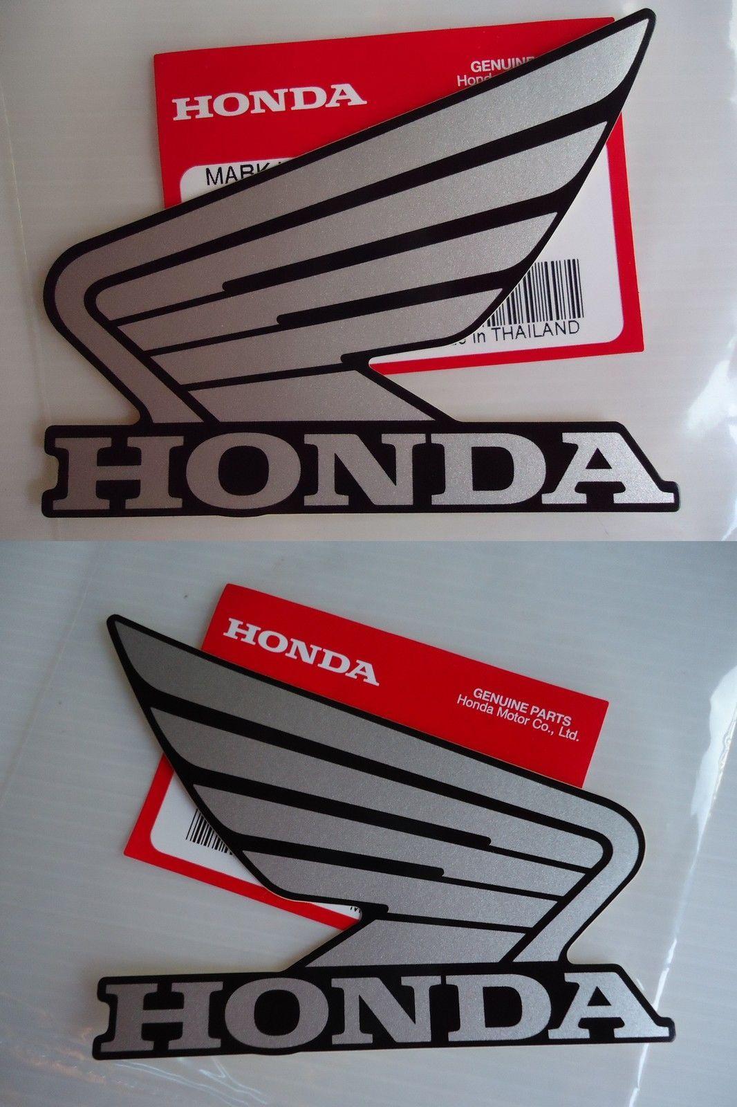 Honda Fuel Tank Wing Decal Wings Sticker x 2 RED BLACK *** GENUINE HONDA ***